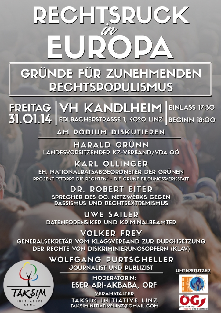 Flyer-Podiumsdiskussion zum Thema Rechtsextremismus in Europa